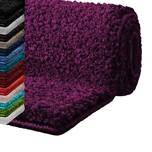 casa pura Alfombras baño Antideslizante   Alfombrilla baño   Unicolor   Ultra Absorbente   Muchos Colores y tamaños (Morado, 60x100 cm)