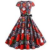 Huacat Women Weihnachtskleid Frauen Weihnachten Drucken Ärmellos Rundhals Party Panel Kleid Verein...
