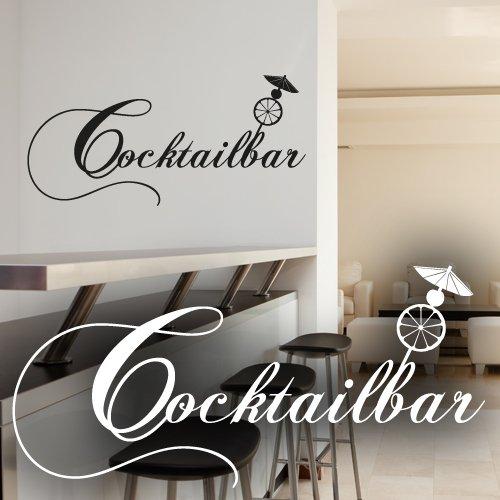 """Wandkings Wandtattoo """"Cocktailbar (mit Cocktailschirmchen, Kirsche und Orangenscheibe)"""" 50 x 24 cm schwarz - erhältlich in 33 Farben"""