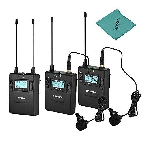 CoMica CVM-WM300 (A) UHF 96 Kanal wiederaufladbarer Funkmikrofon Empfänger + Dual Lavalier Mic Sender System für Canon Nikon Sony D / SLR Kamera XLR Kamera & Smartphone 394-Fuß-Bereich (2TX + 1RX)