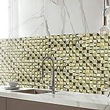 JY ART Autocollants carrelage adhesif Mural 3D Collage des tuiles adhésives doré mosaïque 20x20, Sticker Mural décor Küche u. Salle de Bain,20CM*500CM