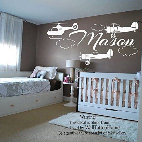 Chow off Decals Initialled Go-between Decal Vinyl Sticker Even Helicopter For Boy Nursery Bedroom Up on Decor Pusillanimous Found Art Murals MN726 by WallTattooHome