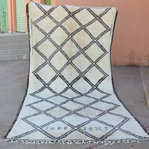 Natürliche Wolle Teppich (Marokkanische Beni ourain Berber Teppich Orient Teppich - 100% handgewebte natürlich Tribal Wolle Teppich - Diamant Formen - 3.86 x 1.85 m   1982)