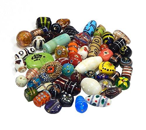 500g Glasperlen Silberfolien Mix Indian Posten Glas Perlen Lampwork Beads Konvolut Bunt Perlenset Bastelset Für Schmuck DIY Basteln Schmuck-Design (500)
