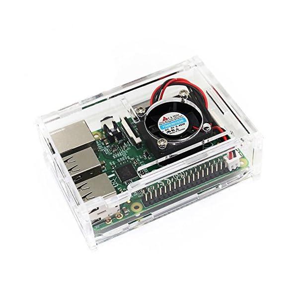51hCHk3jp9L. SS600  - TRIXES Caja Acrílica Transparente con Ventilador de Enfriamiento para Raspberry Pi Modelo B+, Raspberry Pi 2 Modelo B y Raspberry Pi 3