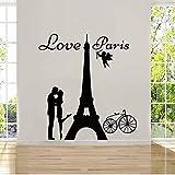 Mhdxmp Angels Love Paris Etiqueta De La Pared De Vinilo Calcomanía Amante Besos Y Bicicletas Desmontable Home Diamond Level Artisitc Decoraciones42 * 45 Cm