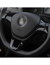 Tocoss(TM) Autozubeh?r Neues ABS-Lenkrad Trim-Abdeckung f¨¹r Volkswagen VW Golf MK7 Polo 2014 2015 Auto-Innendekoration #Tracking --- Schwarz