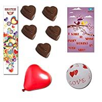 BOGATCHI Valentines Day Chocolate Gift, Heart Chocolate, 5 pcs + Free V-Day Card + Free Love Balloons