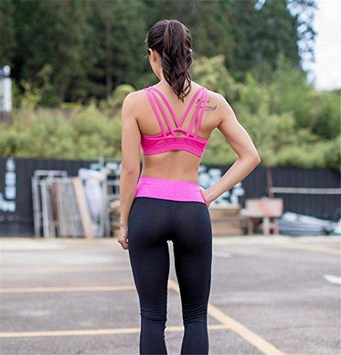 HAPPYMOOD Femme Sports Bra Couleurs différentes Support moyen Strappy Retour Énergie Soutien-gorge sport Sensation de coton Aptitude Gym Wear Running Bra pink