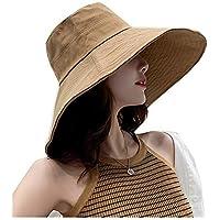 Fengdp Sombra Sombreros de Sol for Las Mujeres Sombrero de Mujer Sombrero de Playa del Verano Mujeres del Verano del Sombrero de ala Ancha cubeta niña (Color : Khaki Wide Brim)