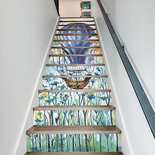 Neu New Klassenzimmer Kinderzimmer Kreative Dekoration Aquarell Heißluft Ballon Muster Treppe Abziehbild Streifen Aufkleber Abnehmbare Kunst Hausdekorationen DIY Tapete , 1