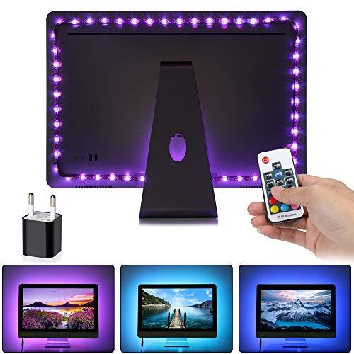 URAQT Led TV Tira Led RGB, Tiras LED de interior, Tiras LED Iluminación con Control Remoto de RF+Tiras LED +Cable USB+Cinta+ enchufe estándar europeo USB para TV de pantalla plana Accesorios