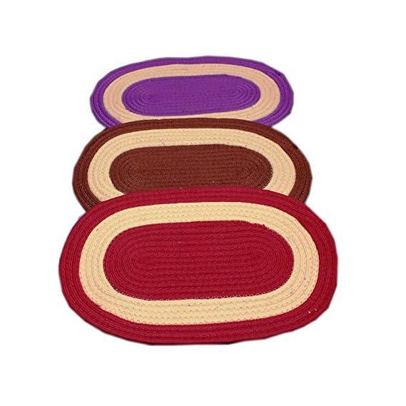 Online Quality Store Amazing Door mats Cotton Set of 3 (Multi, Reversible, Cotton,16 * 24)