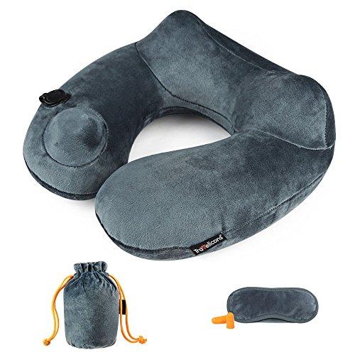Aufblasbares Nackenkissen Reisekissen mit weichem und waschbarem Bezug ergonomisches Design U-förmiges Pillow mit Kostenlosen Ohrstöpsel Tragetasche für Flugzeuge/Reise/Auto