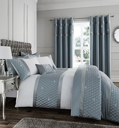Catherine Lansfield Sequin Cluster Duvet Quilt Cover Set - Duck Egg Blue - UK King Best Price and Cheapest