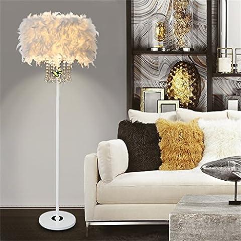 LightSei- Feder Fußboden Lampe E27 LED Kristallmetall modernes dekoratives Geschenk Wohnzimmer Hochzeits Raum Schlafzimmer Nachttisch Fußboden Licht ( Farbe : Weiß )