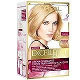L'Oréal Paris Excellence Crema Colorante Triplo Trattamento Avanzato, 9 Biondo Chiarissimo