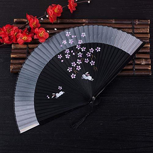 ZYHMXM Faltventilator, Chinesische Klassische Handgemachte Kirschholz Skeleton Hohl Grau Faltventilator Ventilator Büro Wohnzimmer Schlafzimmer Wanddekoration Dekoration -