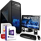 Multimedia Gaming PC mit Monitor AMD A8-7600 4x3.1GHz |ASUS Board|24 Zoll TFT|8GB DDR3|1000GB HDD|Radeon R7 Series HDMI|DVD-RW|USB 3.0|SATA3|Sound|Windows 10 Pro|GigabitLan|3 Jahre Garantie|Made in Ge