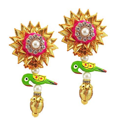 BLENT#63 Beautiful Pink Gota Patti Flower Jewellery Parrot Earrings for Women/Kids/Girls/Bride/Bridal/Wedding/Haldi/Mehandi (Handmade...