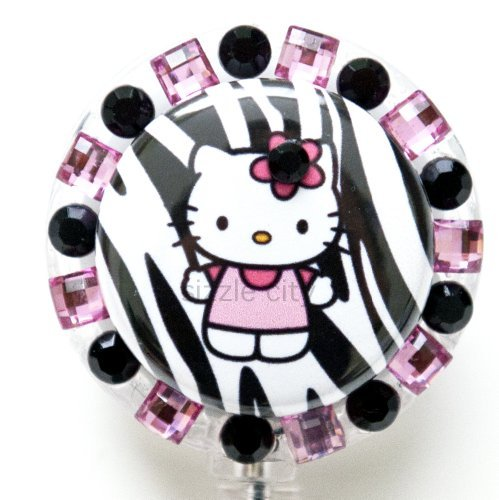 Pink Zebra Hello Kitty Strass Badge Reel/ID Badge Holder für Krankenschwestern, Lehrer, und jeder, der eine ID Badge zu Display Zebra Strass