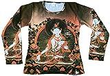 Ticila Damen Langarm T-Shirt Braun WHITE TARA Siam Orchidee Blume Nepal Bhutan Tipet Buddha Kunst Art Religion Star Designer Vintage Tattoo Design L 42