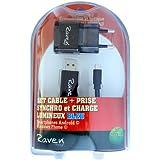 Raven design 250047 Prise secteur + Câble Lumineux Micro USB Noir