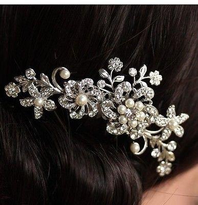 Haarspange Braut Hochzeit Blumen Schmucksteine Kristall Perlen - Silber, M