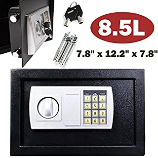 Digital Safe Box 8.5 Litre Large 20x31x20cm with 2 Backup Keys Electronic Security Money Cash Home Office (Black)