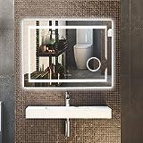 LUVODI Miroir Salle Bain 80x60 cm avec Éclairage Intégré Miroir Mural Lumineux Anti-buée Grossissant 3X avec Lumière Blanche Froid/Banche Chaud pour Maquillage Salle de Bain Chambre Maison