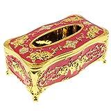 Homyl Acryl Kosmetikbox Kosmetiktuch Taschentuchbox Kosmetik Tücherbox Box, Europäischer Stil - Goldenes Rot