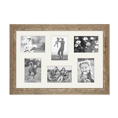 PHOTOLINI Fotocollage-Bilderrahmen 30x45 cm im Strandhaus-Stil Eiche-Optik Collagerahmen Bildergalerie-Rahmen für 6 Bilder Wechselrahmen mit Passepartout - Horizontale Mehrfach-bilderrahmen