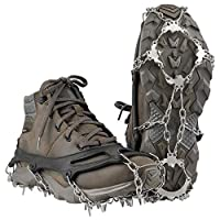 Terra Hiker 18 Teeth Crampons, Ice Grips for Shoes and Boots(Black, Fit 36-41 Sizes)