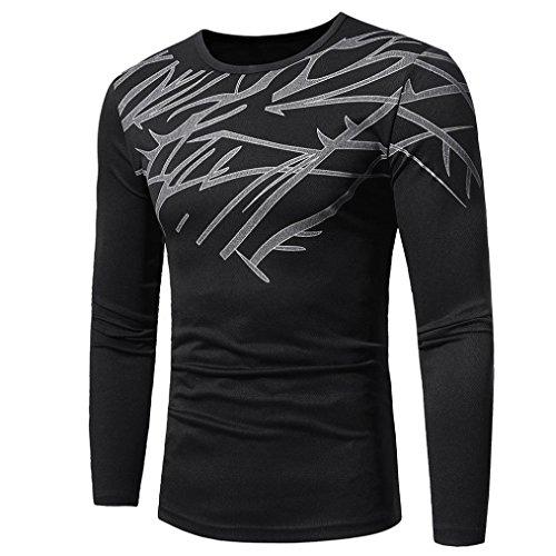 Longra Herren Herbst Winter Langarmshirt Warm Basic Sweatshirt Pullover Top Fashion Printing Herren Langarm T-Shirt Bluse (XL, Black)
