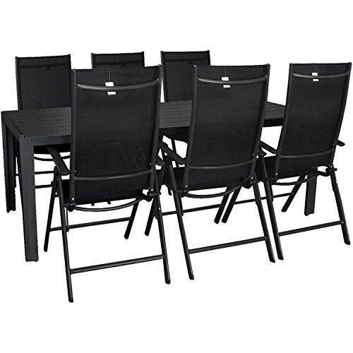 7tlg. Gartengarnitur Aluminium Polywood Gartentisch 205x90cm + 7-Positionen Hochlehner mit 2x2 Textilenbespannung Terrassenmöbel Sitzgruppe Schwarz