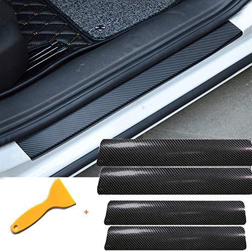 Velidy, 4 adesivi universali 3d antigraffio, in fibra di carbonio, adatti per la soglia della portiera dell'auto, accessori auto