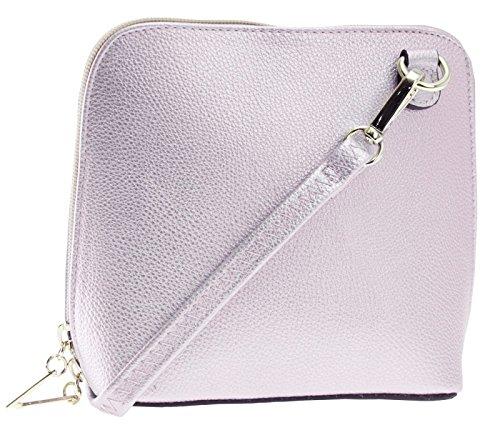 Big Handbag Shop - Borsa a tracolla donna Metallic - Baby Pink