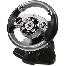 Speedlink Silver Lightning Lenkrad für PC/PS2 (Vibrationsfunktion, Schaltwippen) silber schwarz