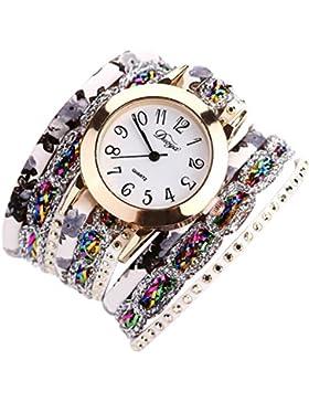 Webla Uhren Frauen Beliebte Quarzuhr Luxus Armband Blume Edelstein Armbanduhr (C)