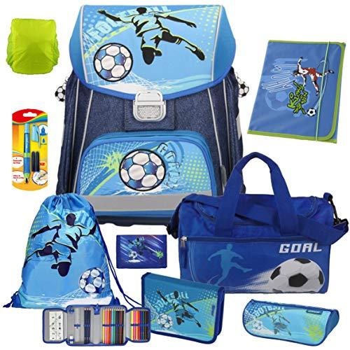 Spirit Football - Fußball Soccer - Leicht-Schulranzen-Set 9teilig mit Sporttasche, Geldbörse, Schreiblernfüller, Regenhülle - hochwertige Heftmappe A4, WERT 19,90 EUR GRATIS dabei