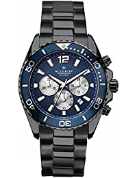 Accurist Men's Quartz Watch with Blue Dial Chronograph Display and Black Satin Stainless Steel Bracelet 7206