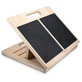 Navaris planche inclinée en bois - Plan antidérapant pour exercice étirement mollet cuisse jambe dos - Accessoire muscles fitness - max 150 kg