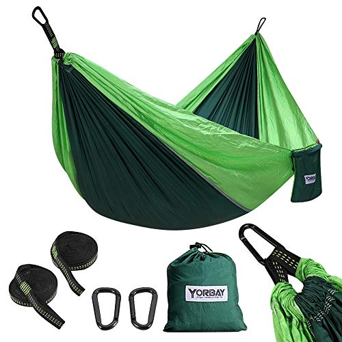 Yorbay Hängematte, 300kg Tragkraft(270 x 140cm), mit 2 x Premium Karabiner, 2 x Nylon-Schlingen Inbegriffen, Tasche für Außenbereich, Garten, Camping, Ausflug