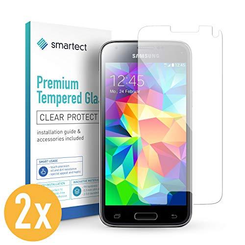 smartect Panzerglas für Samsung Galaxy S5 Mini [2 Stück] - Displayschutz mit 9H Härte - Blasenfreie Schutzfolie - Anti Fingerprint Panzerglasfolie (Glas-mat-akkus)