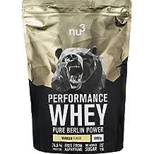 nu3 - Whey Protéines Performance | 1kg | Poudre Vanille | Protéines destinées à la prise de masse musculaire | Excellente solubilité et délicieuse saveur vanille | Haute teneur en protéines