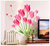 UberLyfe Pink Tulips Wall Sticker Size 2 (Wall Covering Area: 70cm x 60cm) - WS-1009