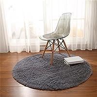 Alfombras, CAMAL Redonda Material de Lana de Seda Artificial Alfombras de Yoga para Sala de Estar Dormitorio y Baño (Gris, 140cm)