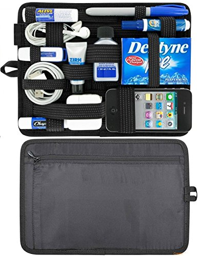 Bulfyss Generic Universal Accessories Organizer, Hard Drive Case, Cable Organizer Grid Pad With Back Zip Pouch