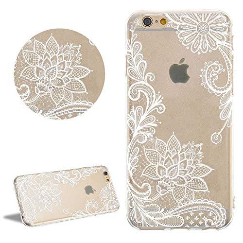 DasKAn Durchsichtig Dünn Silikon Hülle für iPhone 7/8, Lotus Blumen Weiß Muster Elegant Weich Gummi Rückseite Handy Tasche Kratzfest Stoßfest Flexibel Gel TPU Schutzhülle,#4 (Lotus-blume Iphone 4 Case)