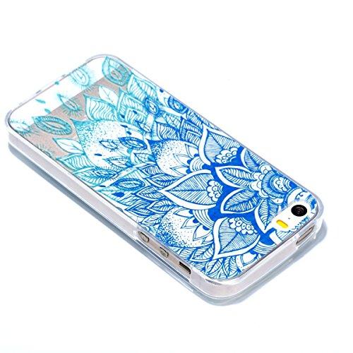 Pour iPhone 5 5S 5G / iPhone SE Case Cover, Ecoway TPU Clear Soft Silicone motif estampé Housse en silicone Housse de protection Housse pour téléphone portable pour iPhone 5 5S 5G / iPhone SE - Feuill Feuilles bleues